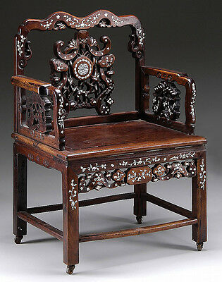 FINE ELABORATE ROSEWOOD CARVED CHINESE MOTHER-OF-PEARL ARMCHAIR.M015. Lot 3906