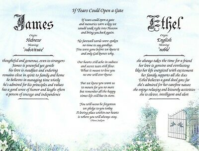 Personalized Double Name Meanings w Loss of a Loved One Poem - Parents