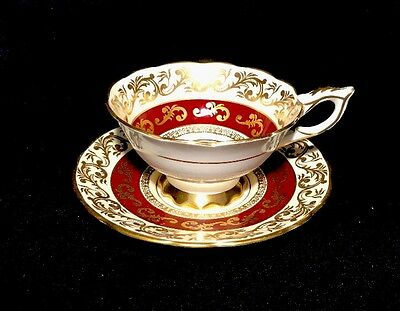 Royal Stafford Red Tea Cup Set With Gold Lace Bone China England