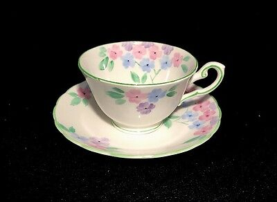 Tuscan Pink purple blue floral Tea Cup Set Bone China Made In England