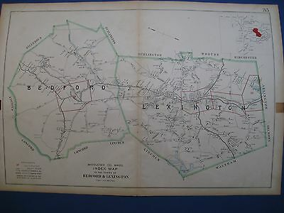 Original 1906 Map of Lexington and Bedford, Massachusetts Middlesex County Atlas