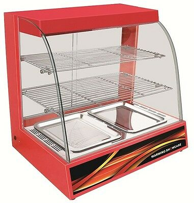 Counter Top Heated Red Pie Display Curved Glass Hot Food Cabinet Warmer Pizza