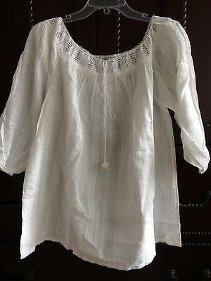 White Linen Lace Trimmed  Boho Ethnic Peasant Blouse Hand Made in Croatia