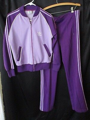 Vintage Adidas Tracksuit Purple Med top small Bottoms Retro S-M 2pc set