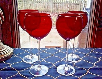 """4 Excellent Lenox Marked Ruby Red Gem 8 7/8"""" Wine Balloons Goblets Glasses"""