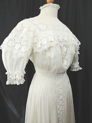 Antique Wedding Lawn Tea Party Cotton Lace Dress Victorian Edwardian Sm/Medium