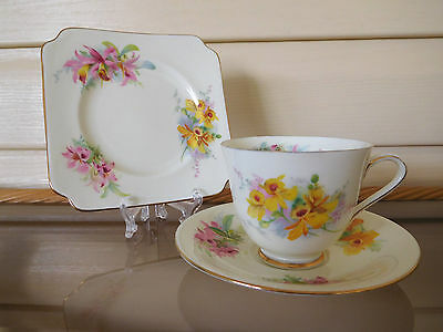 """Royal Doulton """"Orchids"""" Trio D2129 Made In England 1940s"""
