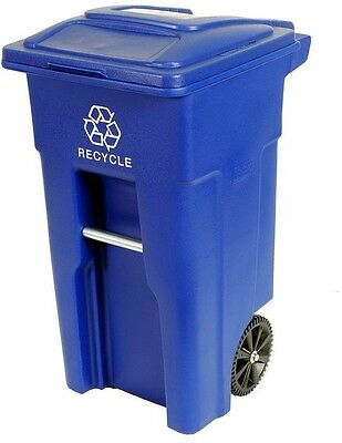 Trash Can, Garbage, Recycle Bin, Heavy Duty 2-Wheeled 32-Gal. Recycle Container