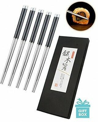 AckMond 5 Pair High Quality Stainless Steel Chopsticks Chinese Japanese Set And