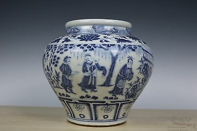 Beautiful Chinese Blue and White Porcelain Character Pot