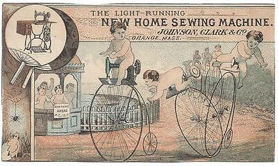 New Home Sewing Machine - Trade Card - Babies Riding Penny-Farthing Bicycles