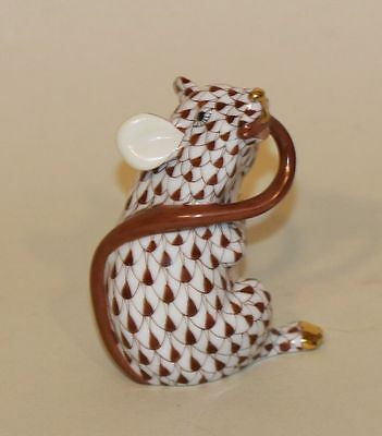 Herend Brown Fishnet & Gold Mouse Chewing Tail in Mouth Figurine 15521
