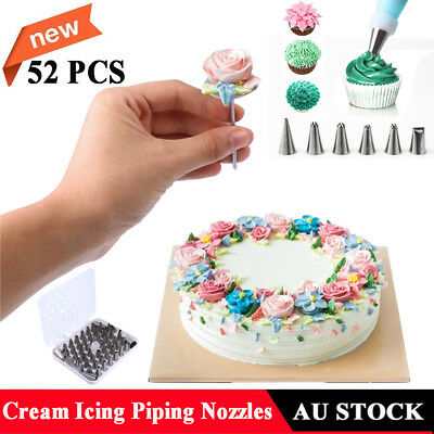 52pcs Cream Icing Piping Nozzles Kit Cake Decorating Tool Pastry Tips BT AU NEW