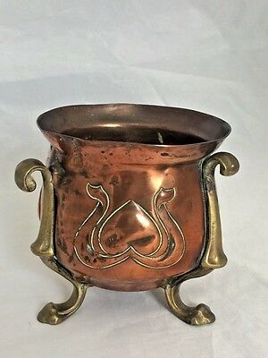 Antique Arts & Crafts Copper Brass Vase Pot Soutter & Sons England Art Nouveau