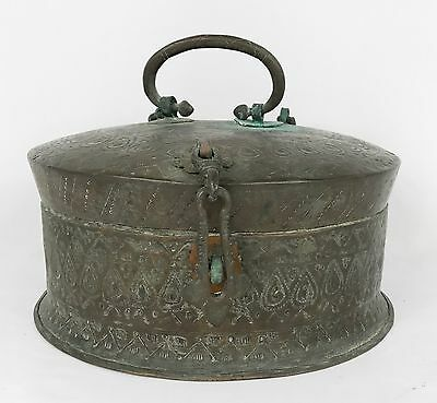Antique 19th Century Indian Chapati Bread Copper Box Lock Hand Hammered Details