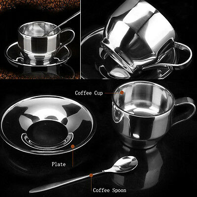 High Quality Coffee Cup Saucer Spoon Set Stainless Steel Double Wall Coffee Mug