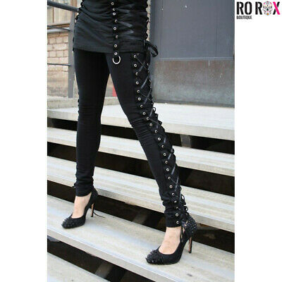 Vixxsin Punk Gothic Wind Zipper Rivets Stretchy Long Leggings Pants Trousers