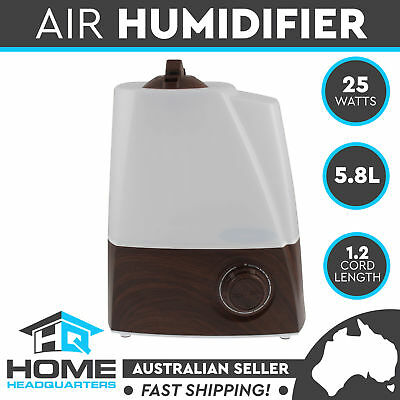 New 5.8L LED Air Humidifier Ultrasonic Cool Mist Purifier Steam Nebuliser Walnut