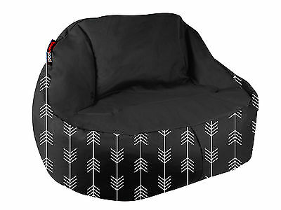 NEW Indoor/Outdoor Luxe Beanbag Cover Beanpod Arrows Black Soft Chair Lounge