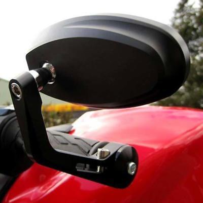 Motorcycle Wing Mirrors 7/8 1 Inch Bar End Motorbike Rear View Side Mirror Black