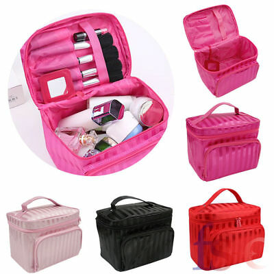 Large Beauty Makeup Nail Cosmetic Vanity Box Jewelry Stripe Case Storage Bag New
