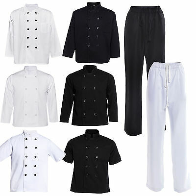Chef Coat Jacket Chefs Trousers Pants Kitchen Catering Cooks Canteen Uniform