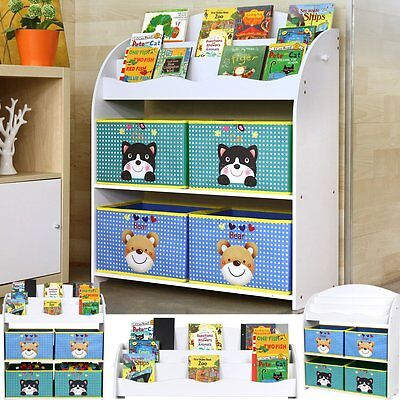Toy&Book Storage Unit Bookshelf 4 Toy Boxes Children Kids' Tidy Bedroom Playroom