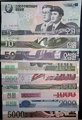Korea 2009 Uncirculated 9 Pieces Paper Money (Banknote) Full Set