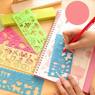 Plastic Multifunctional Templates Drawing Ruler for Students Stationery 4pcs/set