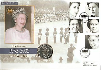 2002 QUEEN'S GOLDEN JUBILEE MERCURY 5 CROWN 1st DAY COIN COVER - London SW1 SHS