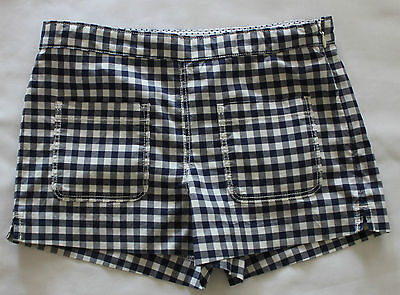 COUNTRY ROAD ~ Girls Navy & White Gingham Cotton Blend Shorts ~ 10