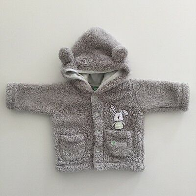 PUMPKIN PATCH Baby Boys Size 0-3 Months Thick Fleece Lined Grey Jacket EUC