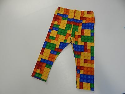 Bright Blocks - Lego Inspired Stretch Cotton Leggings Red Blue Orange - Size 2