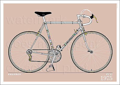 "Peugeot PY 10 1975 bicycle poster • giclee print • cycling • 70x50 cm • 28""x20"""