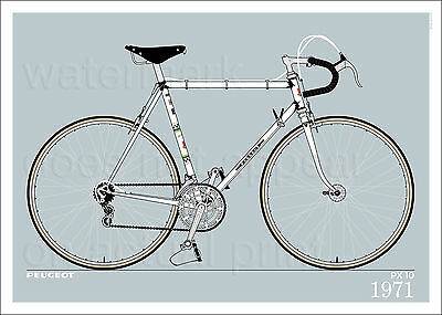 "Peugeot PX 10 1971 bicycle poster • giclee print • cycling • 70x50 cm • 28""x20"""