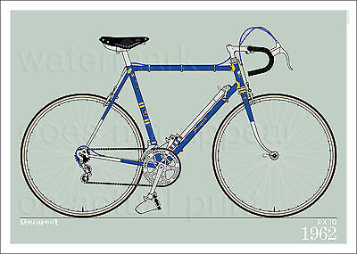 "Peugeot PX 10 1962 bicycle poster • giclee print • cycling • 70x50 cm • 28""x20"""