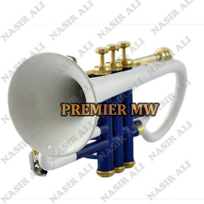 Cornet B-Flat White + Blue Lacquered For Sale With Free Hard Case + Mouthpiece