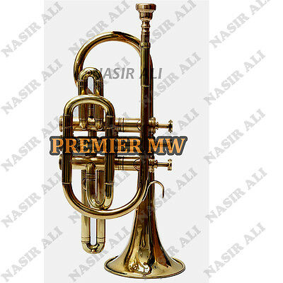 Cornet B-Flat Brass Golden Look For Sale With Free Hard Case + Mouthpiece