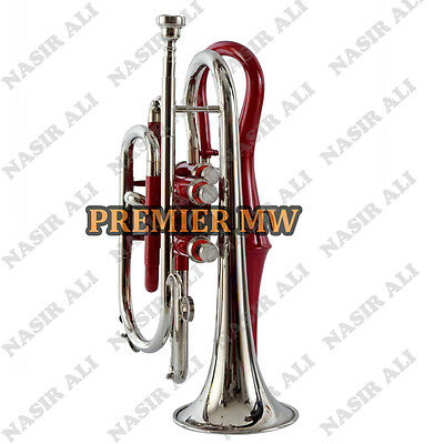Cornet B-Flat Red Lacquered + Nickel For Sale With Free Hard Case + Mouthpiece