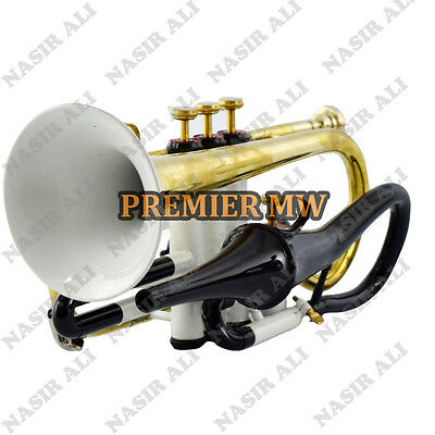 CORNET Bb PITCH WHITE LACQUERED + BRASS SUMMER SALE 10% OFF WITH FREE CASE & MP