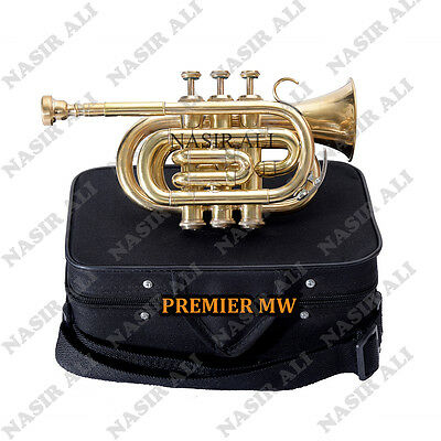 POCKET TRUMPET Bb PITCH BRASS SUMMER SALE 10% OFF WITH CASE AND MP