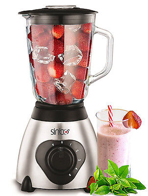 Glas Power Standmixer 6-fach Metallmesser Mixer Ice Crusher  Smoothie Maker 1,5L