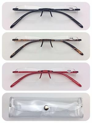 L11 Super Lightweight Memory Plastic Rimless Reading Glasses With a Clear Case