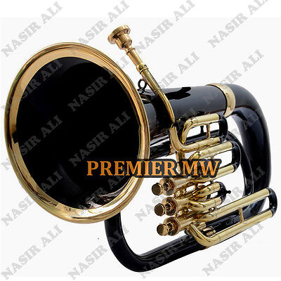 Euphonium B-Flat 3 Valve Black Lacquered + Brass With Free Carry Bag + Mp