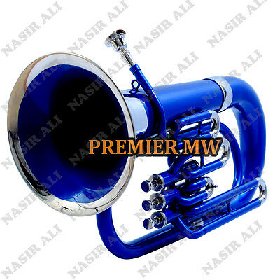 Euphonium B-Flat 3 Valve Blue Lacquered + Nickel Silver With Free Carry Bag + Mp