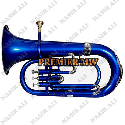 Euphonium B-Flat 3 Valve Blue Lacquered With Free Carry Bag + Mouthpiece
