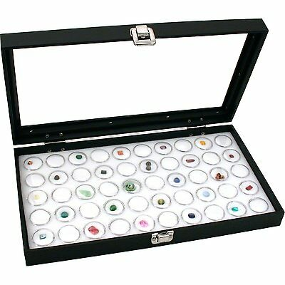 Glass Top Jewelry Display Case Box White 50 Gem Jars