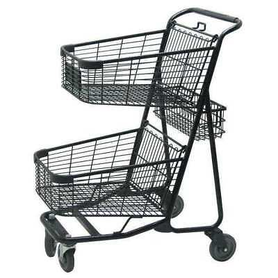 Two Tier Shopping Cart,29 In. L,300 lb. ZORO SELECT RWR-VER-5050BK