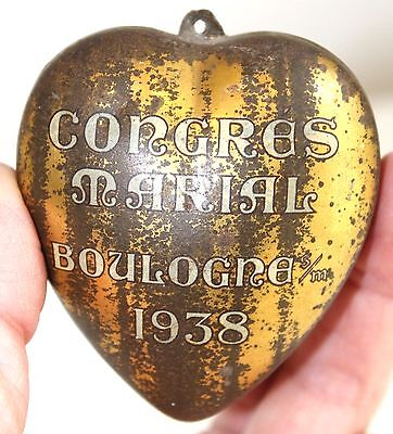 1938 Ex Voto Heart From Congrès Marial De Boulogne-Sur-Mer | French Heart