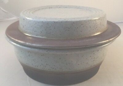 Purbeck grey speckled casserole dish w/ lid c.60 / 70s pottery baking crockpot